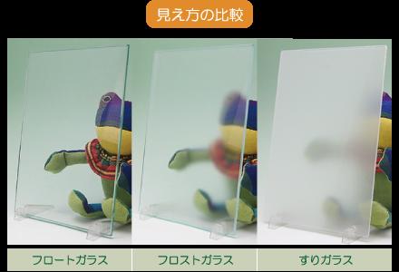 すりガラスとの見え方の比較