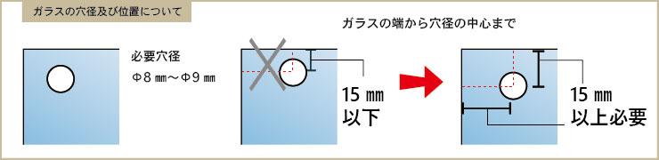ガラスの穴径及び位置